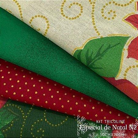 Kit Tricoline 4tecidos Natal Flor de Hibisco 100% Algodão - Medida 50cmx70cm