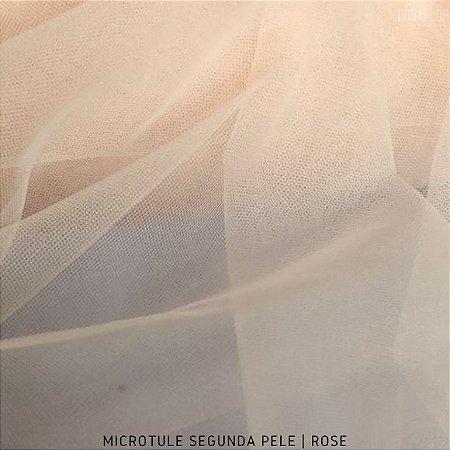 Microtule Segunda Pele Rose tecido Fino e Transparente