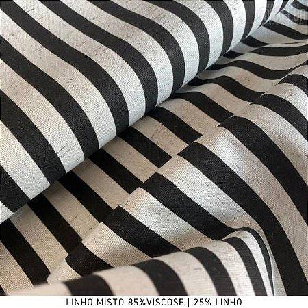 Linho Listra Preto tecido fibras Naturais e Viscose para Roupas, Costura Criativa