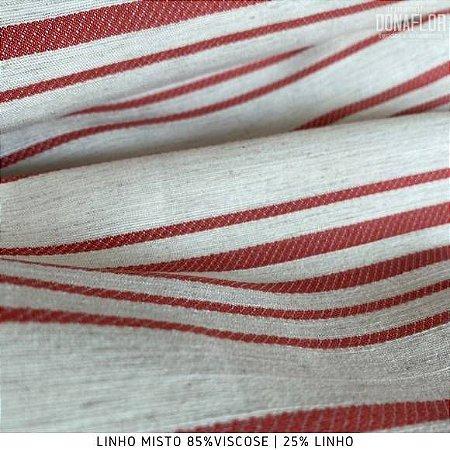 Linho Listra Vermelho tecido fibras Naturais e Viscose para Roupas, Costura Criativa