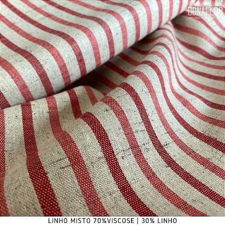 Linho Mescla Listra Vermelho tecido fibras Naturais e Viscose para Roupas, Costura Criativa