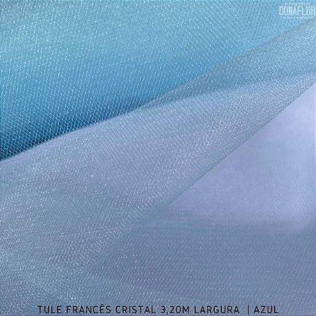 Tule Francês Azul BB tecido Fino, Leve e Brilhoso Roupas e Decorações 3,20Largura