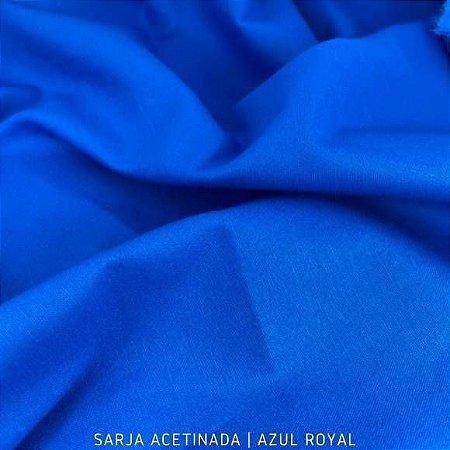 Sarja Lisa Azul Royal Acetinada tecido Algodão com Elastano