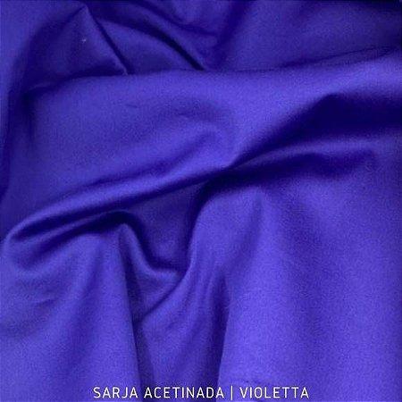 Sarja Lisa Azul Acetinada tecido Algodão com Elastano