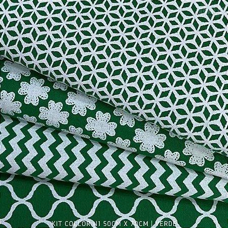 Kit Tricoline 4tecidos Collor Verde N1 100% Algodão - Medida 50cmx70cm
