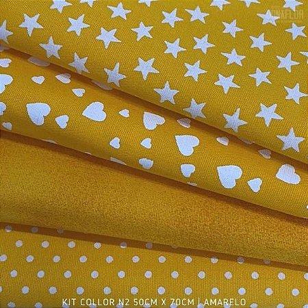 Kit Tricoline 4tecidos Collor Amarelo N2 100% Algodão - Medida 50cmx70cm