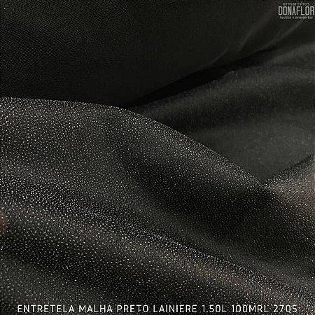 Entretela de Malha Fina Preto Termocolante para Tecidos Leves