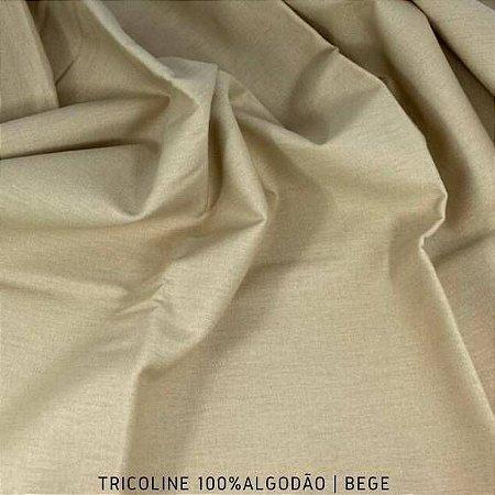 Tricoline Liso Bege tecido 100% Algodão 1,40Largura