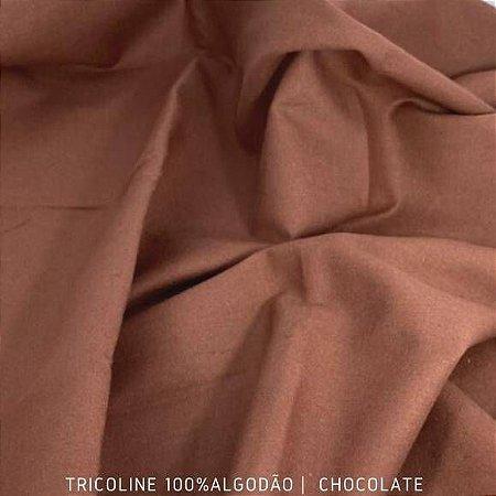 Tricoline Liso Chocolate tecido 100% Algodão 1,40Largura