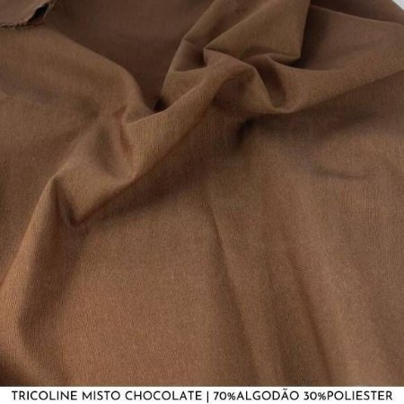 Tricoline Misto Chocolate tecido 1,40Largura