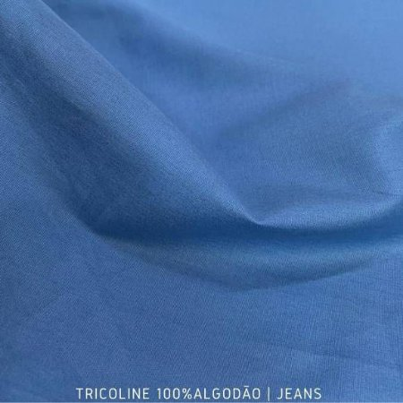 Tricoline Liso Jeans tecido 100% Algodão 1,40Largura
