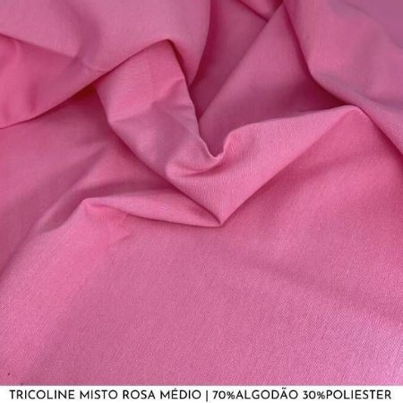 Tricoline Misto Rosa Médio tecido 1,40Largura