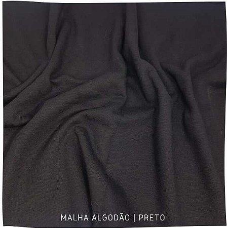 Malha Algodão Penteada Preto 50cm x 1,80m (tubular)