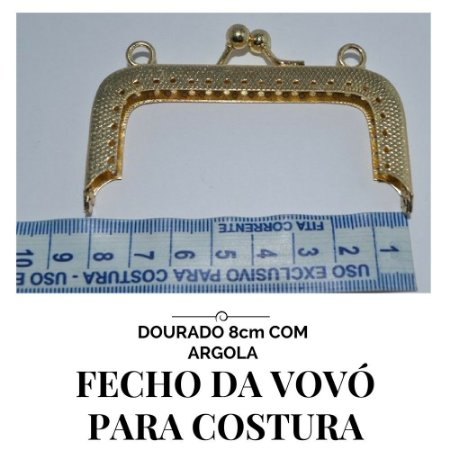 Fecho Vovó Para Costura Dourado Com Argola  8cm