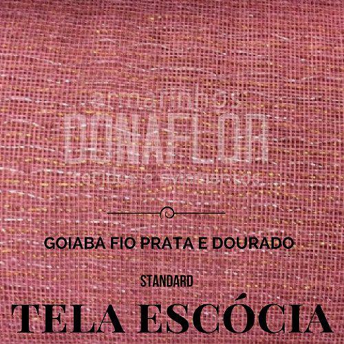 Tela Escócia goiaba prata|dourado  50X65cm