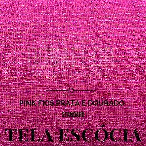 Tela Escócia pink fios prata | dourado  50X65cm