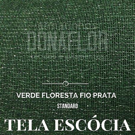 Tela Escócia Verde Floresta Fio Prata  50cmX65cm