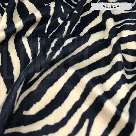 Velboa Estampado Zebra Bege 50cm x 1,50m