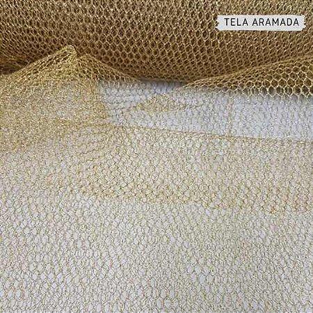 Tela Metalizada Aramada Dourada 50cm x 1,40m