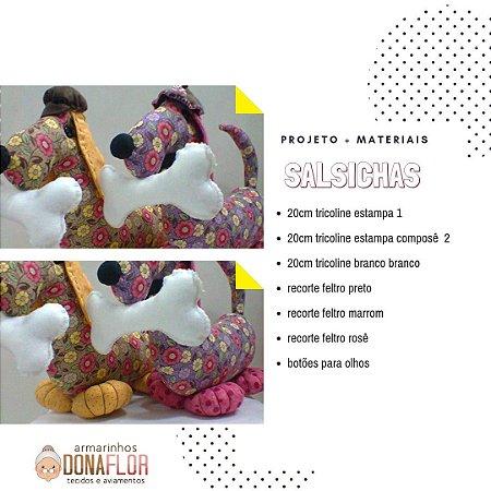 Cachorro Salsichas Kit Projeto + Tecidos