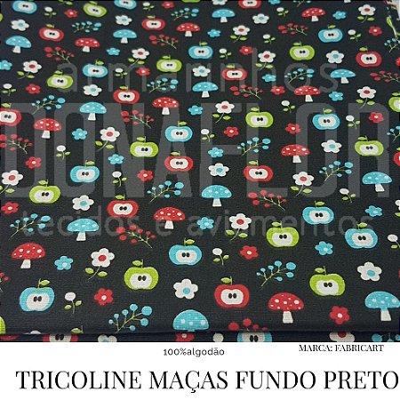 Tricoline Maças Fundo Preto 50cm X 1,40m largura