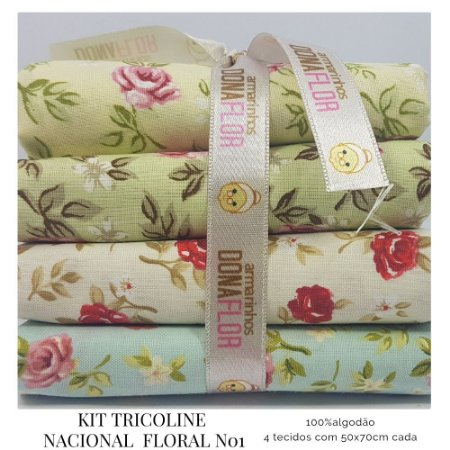 Kit Tricoline Floral N1 | 4 Tecidos 50x70cm