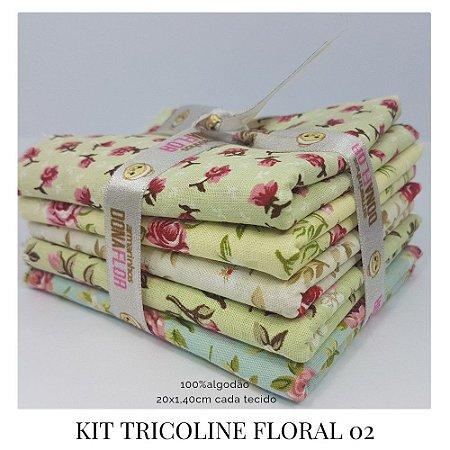 Kit Tricoline Floral N2  | 5 Tecidos 20x140cm