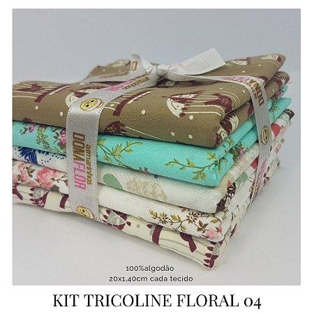 Kit Tricoline Floral N4 | 5 Tecidos 20x140cm