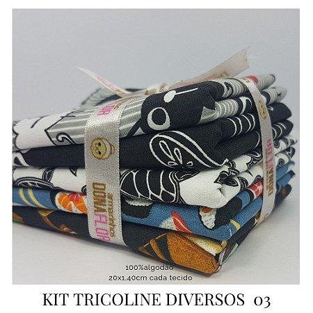 Kit Tricoline Diversos N3 | 5 Tecidos 20x140cm