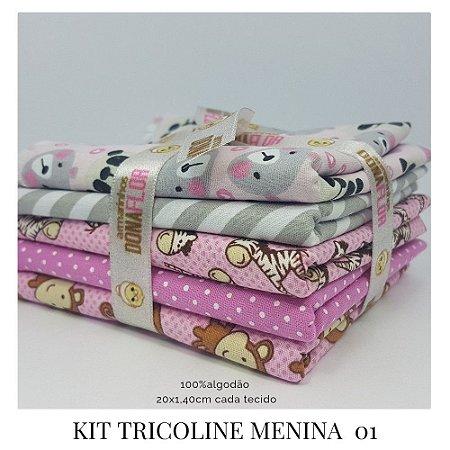 Kit Tricoline Menina  N1 | 5 Tecidos 20x140cm