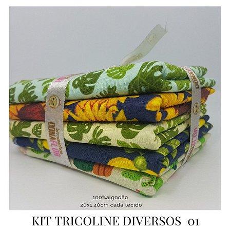 Kit Tricoline Diversos  N1 | 5 Tecidos 20x140cm