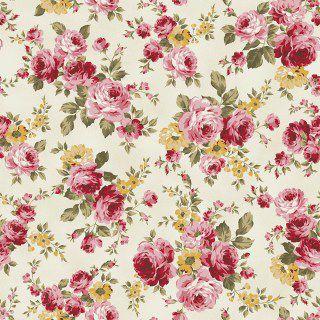 Tricoline grande Floral creme  50X1,40largura
