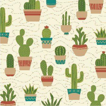 Tricoline cactus fundo bege 50cmX1,40largura