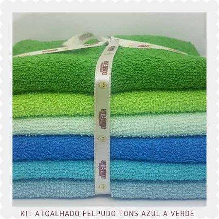 Kit Atoalhado Felpudo tons Azul e Verde 6recortes 30cmx1,40cm