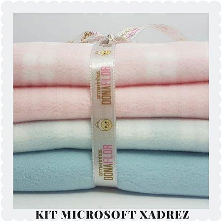 Kit Microsoft estampa Xadrez | 4tecidos 30x80cm