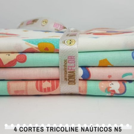 4Cortes Tricoline 100% Algodão Princesas Nº5