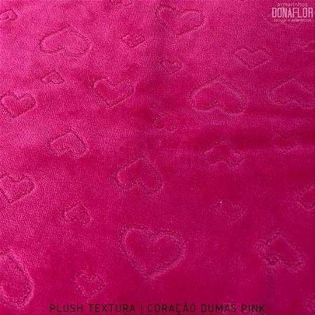 Plush Textura Dumas Coração Fundo Pink tecido Desenhos em Relevo 50cmx1,70m