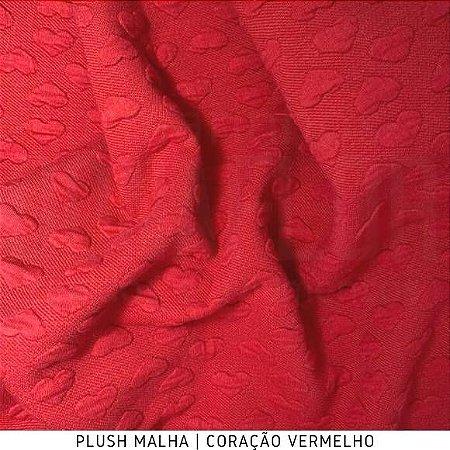 Plush Malha Amabile Coração fundo Vermelho 50cm x1,50m