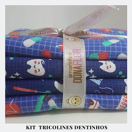 Kit Tricoline Dentinhos | 4 Tecidos 50x70cm