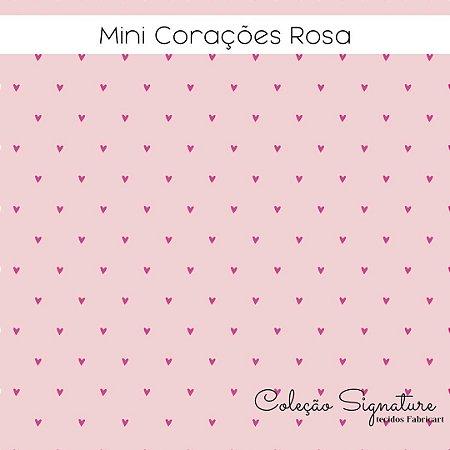 Tricoline Mini Corações Rosa 50cmX1,40m largura