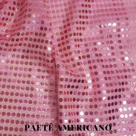 Paetê Americano Rosa  Fundo Rosa 50cm x 1,10cm