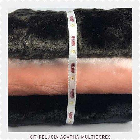 KIt Pelúcia Agatha Multicores 3tecidos 30x75cm