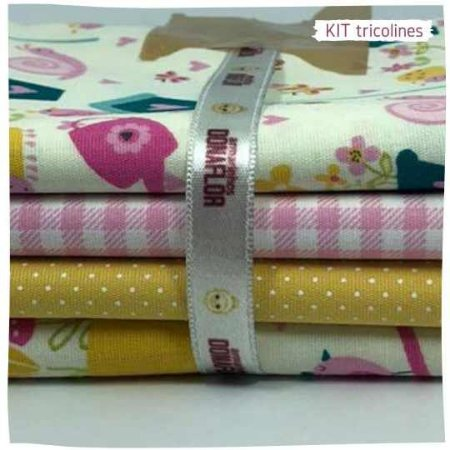 Kit Tricoline Jardins   N2   4 Tecidos 20x140cm