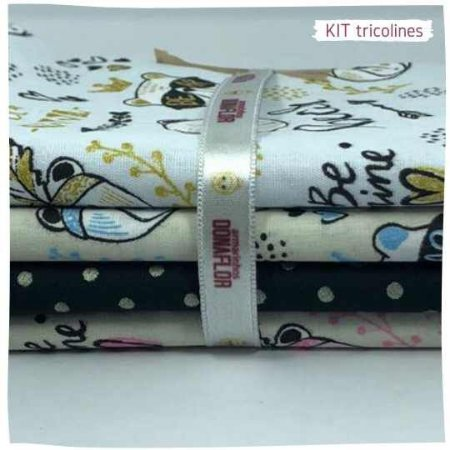 Kit Tricoline fofura  N2   4 Tecidos 20x140cm
