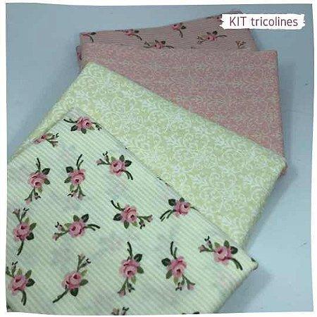 Kit Tricoline flores especiais  n1   4 Tecidos 20x140cm