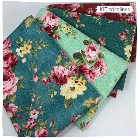 Kit Tricoline Flores especiais n4 | 4 Tecidos 20x140cm