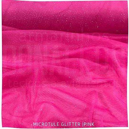 Microtule Com Gliter  Pink  50x1,60m