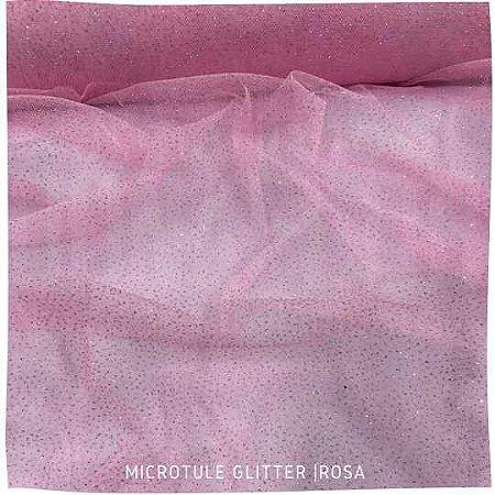 Microtule Com Glitter Rosa 50cm x 1,60m