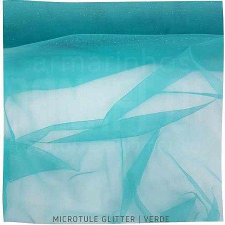 Microtule Com Glitter Verde  50cmx1,60m