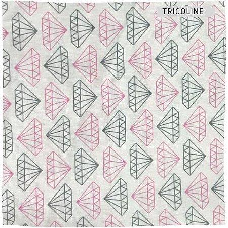 Tricoline Diamante Cinza e Rosa 50cmX1,40m